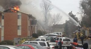 Town inspectors say the University Gardens apartment complex lacked adequate fire extinguishers before this Jan. 28 fire. (Photo by Ran Northam, WCHL/Chapelboro.com)