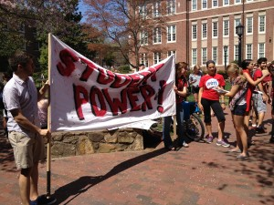 Students rally on campus to protest a proposal in the state legislature that could make it harder for them to vote. Photo by Mike Rodriguez