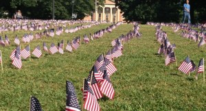 Flags on the UNC campus commemorate the anniversary of 9/11, which occurred when most current students were young children.  (Photo by Zach Mayo.)