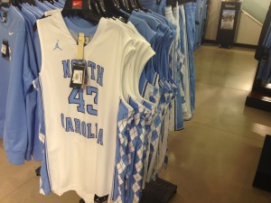 Merchandise bearing the uniform numbers of student athletes is commonly sold at many stores and online (Photo by Zach Mayo)