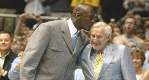 Michael Jordan showed his appreciation to Dean Smith in this 2007 ceremony in Chapel Hill.  (Photo by Zeke Smith, Creative Commons)
