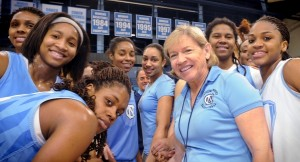 UNC Women's Basketball Coach Sylvia Hatchell -- seen with her team in this 2013 file photo -- says she's feeling better after leukemia treatment. (Photo by Don Sears, UNC News Services)
