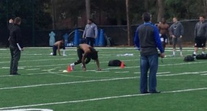 UNC football players run exercises in hopes of impressing NFL scouts. (Photo by Daniel Goodwyn)