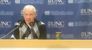 UNC head basketball coach Roy Williams addresses the media before his team's March 8 rematch against Duke.  (Photo by Jordan Nash)