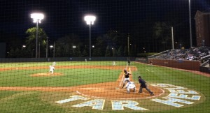 UNC baseball coach Mike Fox says this team's youth and inexperience has shown at times and many players are still learning to adjust to the long season. (Photo by Daniel Goodwyn)