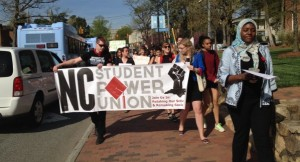 Students protested against proposed tuition hikes made by the UNC Board of Governors. (Photo by Jess Clark)