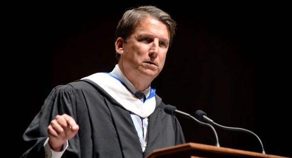Gov. Pat McCrory speaks at UNC's Oct. 12 University Day ceremony. (Photo from UNC Office of News Services.)