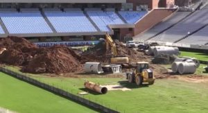 Crews have dug up the Kenan Stadium field to replace a water pipe that's in danger of bursting.