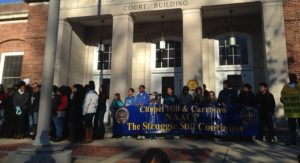 An NAACP rally on Franklin St. was part of Chapel Hill's Martin Luther King Day commemoration.