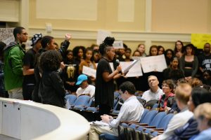 Students speak out during a Town Hall about race and inclusion at Memorial Hall, University of North Carolina at Chapel Hill. Clarence Page, a Pulitzer Prize winning journalist, facilitated the event, which was hosted by Chancellor Carol Folt.