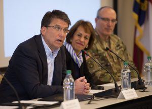 North Carolina Gov. Pat McCrory, University of North Carolina at Chapel Hill Chancellor Carol L. Folt and other state leaders participate in a panel discussion on the Connect NC bond at the UNC Center for School Leadership Development February 17, 2016. In addition to McCrory and Folt, N.C. Department of Natural and Cultural Resources Secretary Susan Kluttz, N.C. National Guard Adjutant General Maj. Gen. Gregory A. Lusk and Alamance County Community College President Algie C. Gatewood will also participate in the panel. (Photo by Jon Gardiner/UNC-Chapel Hill)