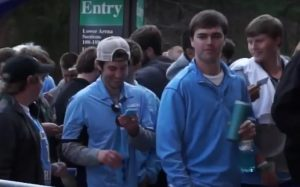Students lined up for hours outside the Dean Dome Wednesday to get the best seats for the Duke game. (Carolina Week photo)