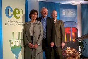 UNC School of Law professors Maria Savasta-Kennedy, Professor Donald Hornstein and Victor Flatt at the announcement regarding an initial $200,000 to the the UNC School of Law's Center for Climate, Energy, Environment and Economics.