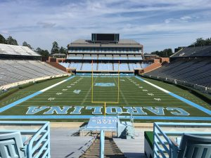 Final touches to Kenan Stadium, including paint on turf, days before the home opener. Photo courtesy of Tim Daye.