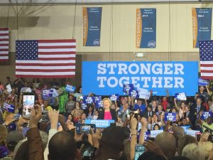 Democratic presidential nominee Hillary Clinton addresses a crowd at her rally at Wake Tech Community College in Raleigh