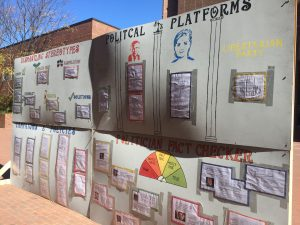 "The ""Trump Wall"" outside of Davis Library (Jessa O'Connor/ Carolina Connection)"