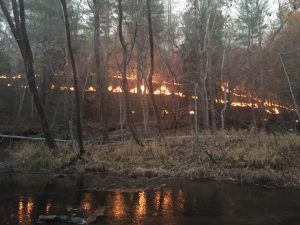 A wildfire burns on Chestnut Knob near Blowing Rock, NC Nov. 18. (NC Forest Service)